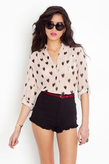 Nasty Gal Ikat Heart Blouse - Blush - Lyst
