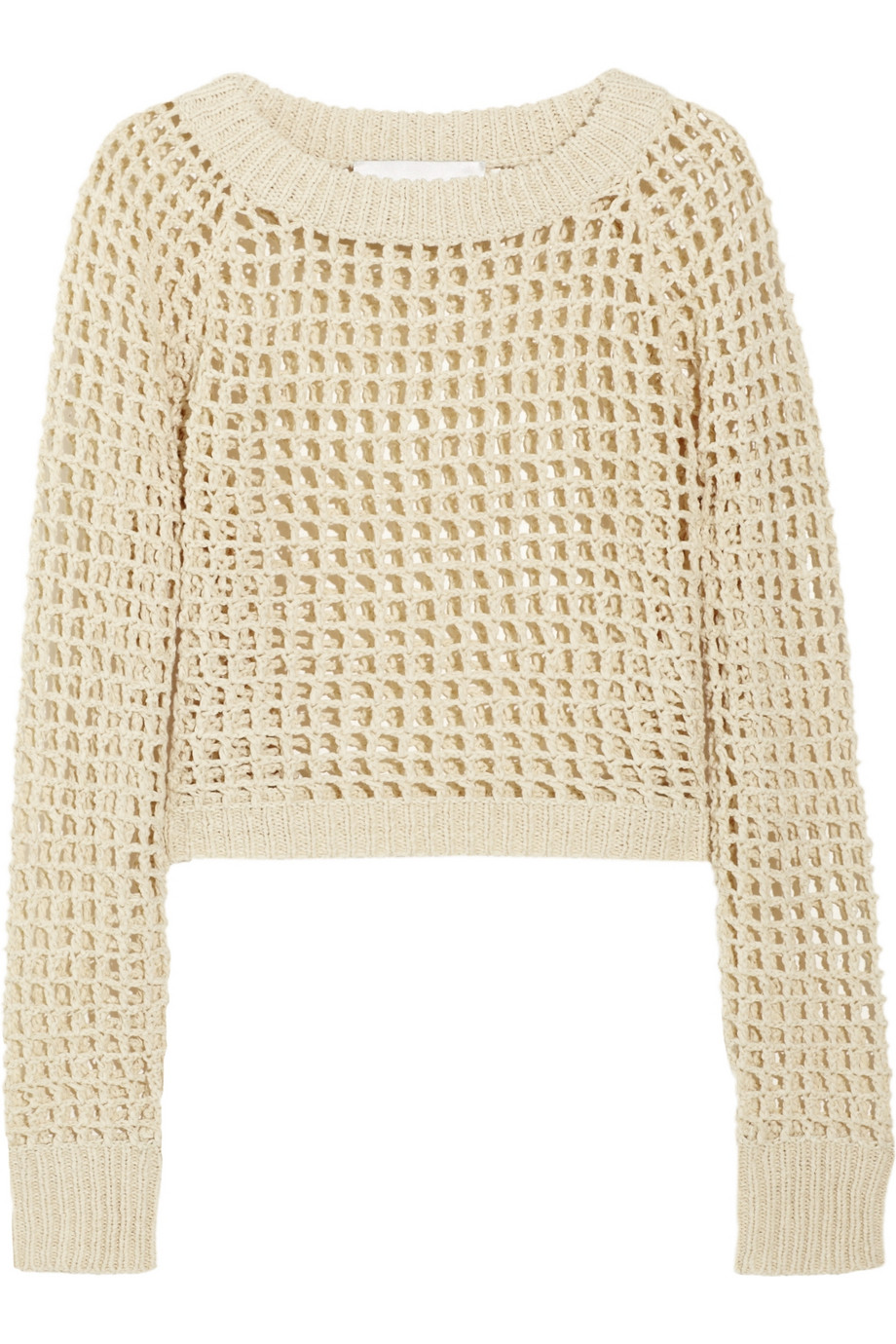 A.l.c. Cropped Open-knit Cotton-blend Sweater in Natural | Lyst