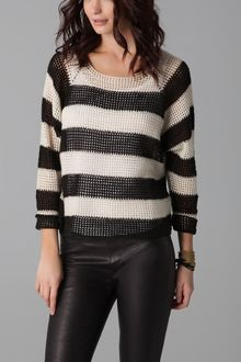 Mason by Michelle Mason Open Knit Striped Sweater - Lyst