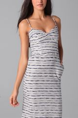Monrow Chain Stripe Bustier Dress in Beige (natural) - Lyst
