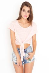 Nasty Gal Tied Crop Tee - Lyst