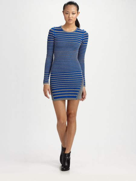 Alexander Wang Engineer Stripe Dress in Gray (grey)