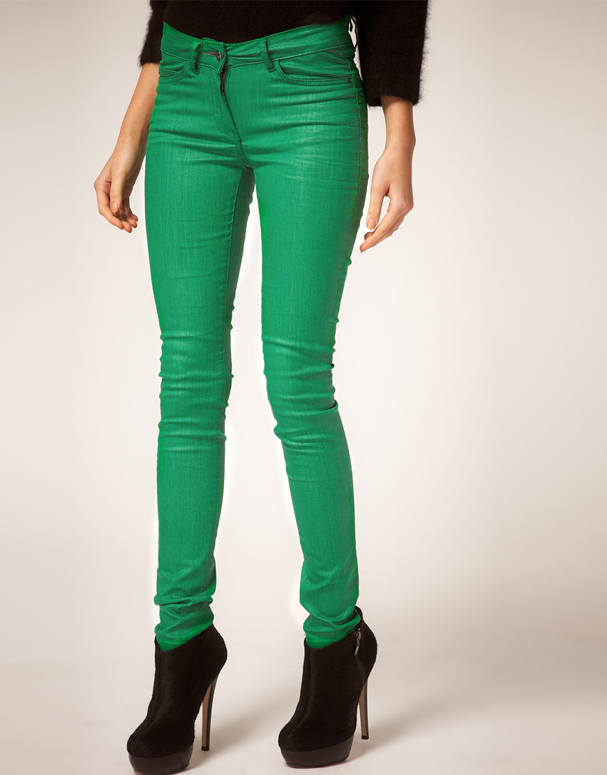 Asos collection Asos Green Coated Coloured Skinny Jeans in Green ...