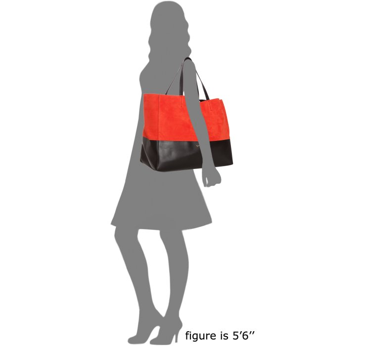 celine designer bags - C��line Coral Suede and Leather Horizontal Bi-cabas Tote Bag in ...