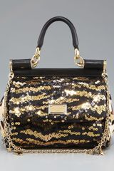 Dolce & Gabbana Miss Sicily Mini Sequined Bag - Lyst