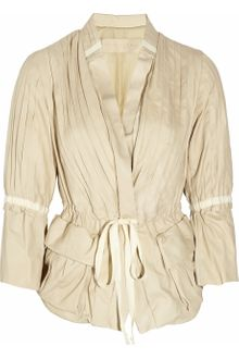 Donna Karan New York Pleated Leather Jacket - Lyst