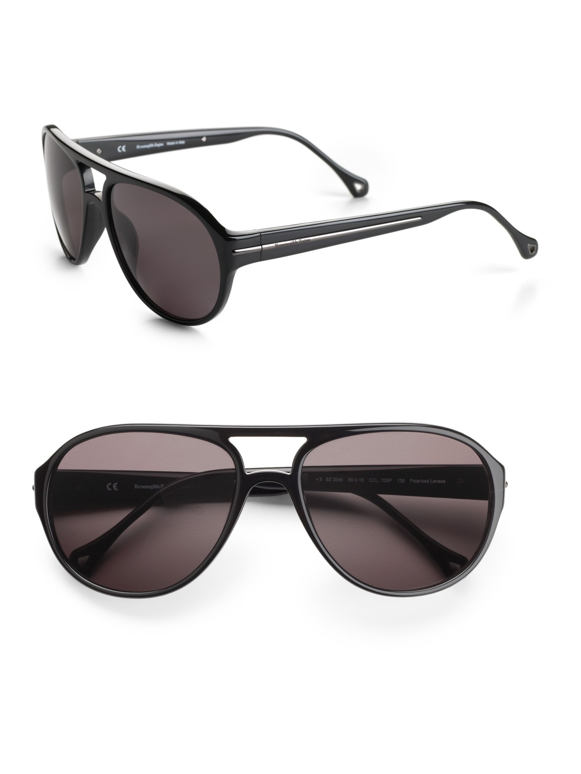 e762536cfa Ermenegildo Zegna Resin Aviator Sunglasses in Black for Men