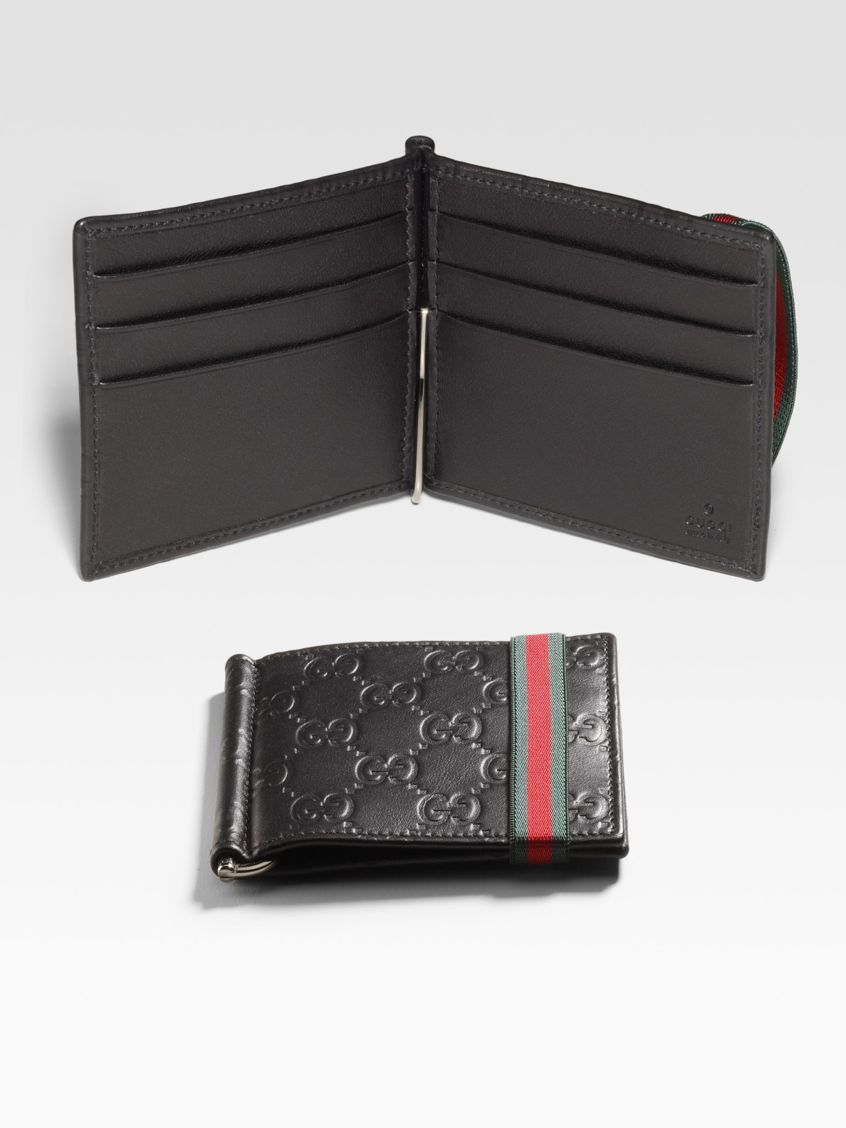 lyst gucci money clip wallet in black for men