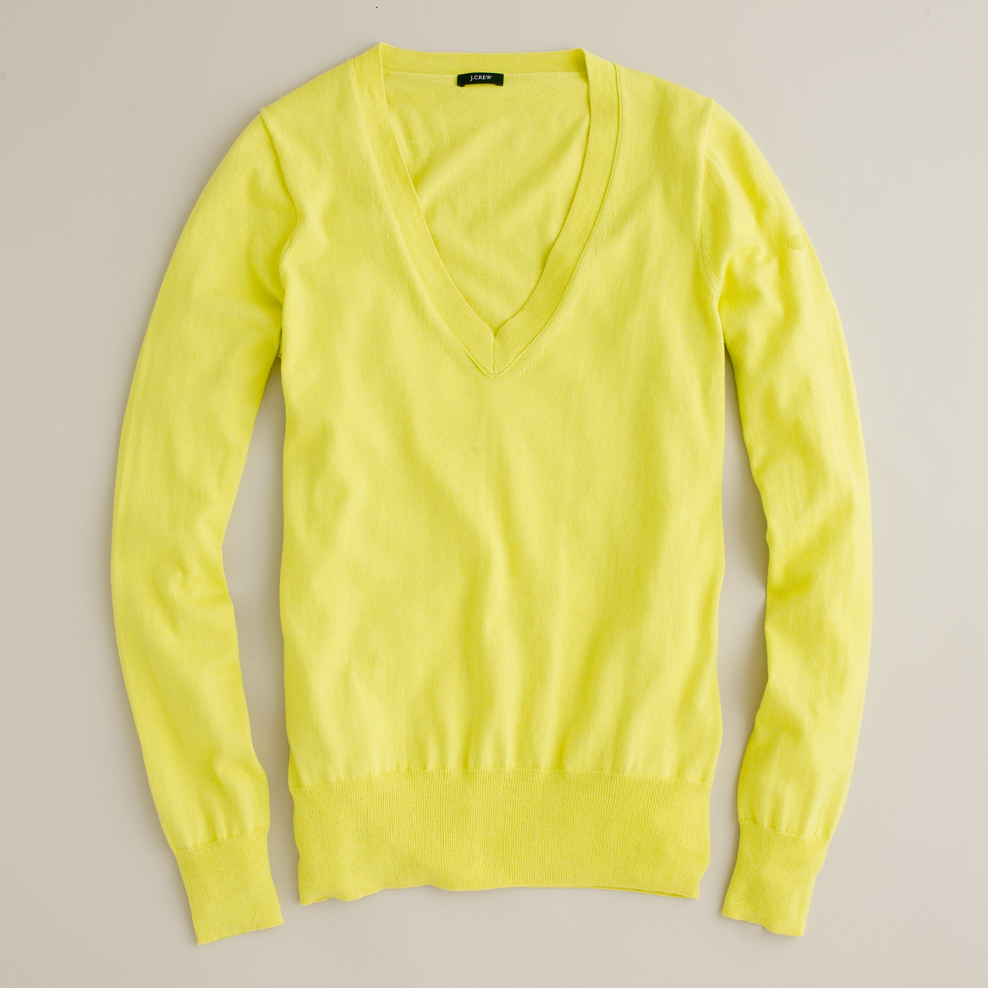 J.crew Cotton V-neck Sweater in Yellow | Lyst