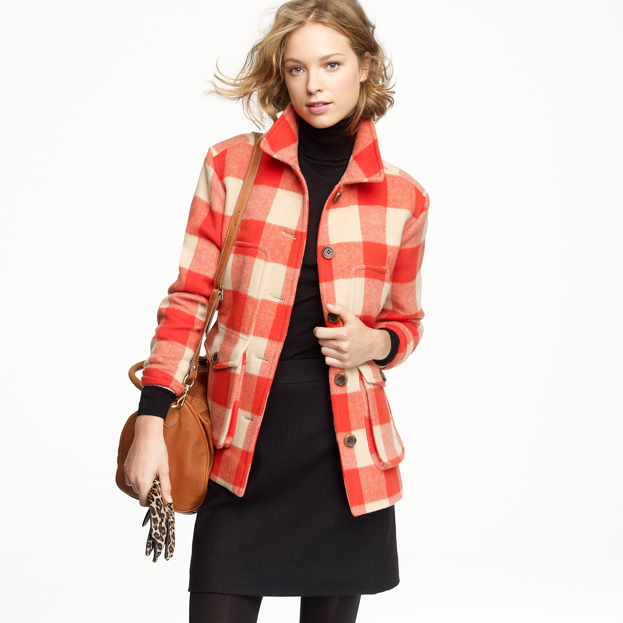 J.crew Stadium-cloth Car Coat in Buffalo Plaid in Red | Lyst