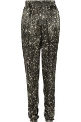 Lanvin Tapered Sequin-print Silk Pants - Lyst