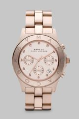 Marc By Marc Jacobs Rose Goldtone Crystal Accented Chronograph Watch - Lyst