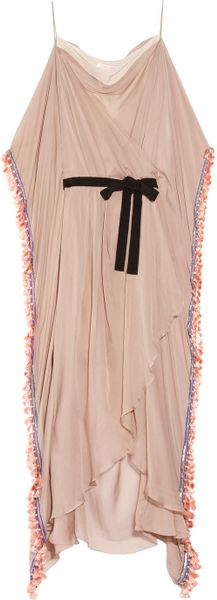 Matthew Williamson Hand-embellished Silk-chiffon Gown in Pink (blush) - Lyst