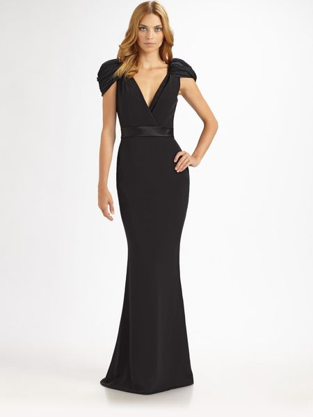 Notte By Marchesa Silk Gown in Black - Lyst