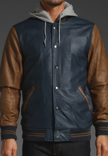 Obey Varsity Hooded Leather Jacket in Blue for Men (navy)   Lyst