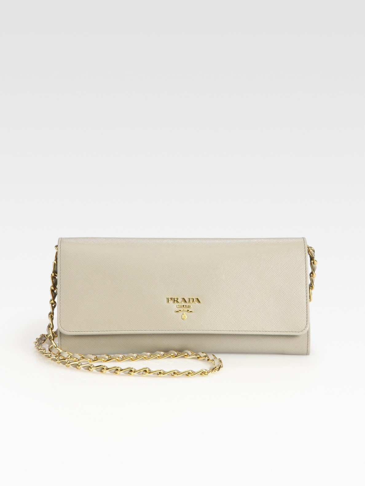 42c9c5451e17f Lyst - Prada Saffiano Wallet with Chain in Natural