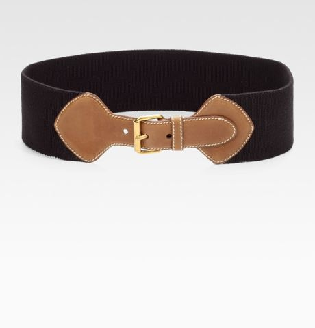Prada Leather Accented Elastic Belt in Black (nero) - Lyst