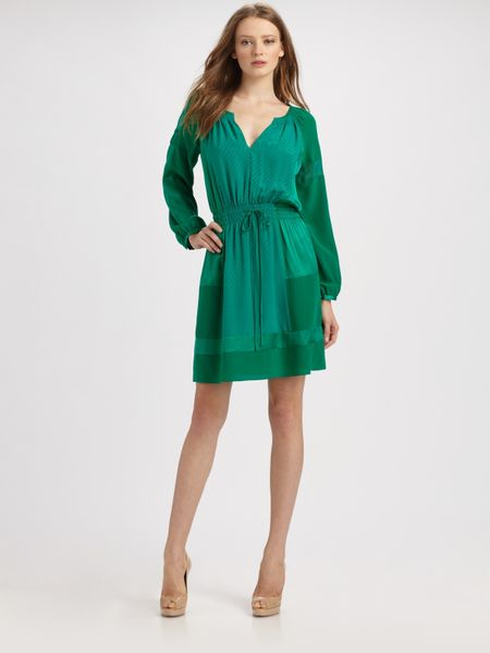 Rebecca Taylor Patched Silk Jacquard Dress in Green (black) - Lyst