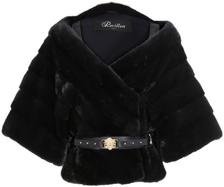 Revillon Mink Fur Cape Jacket in Black (black blue) - Lyst