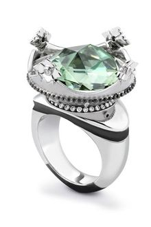 Theo Fennell Green Amethyst, Diamond & Ruby Coronet Ring - Lyst