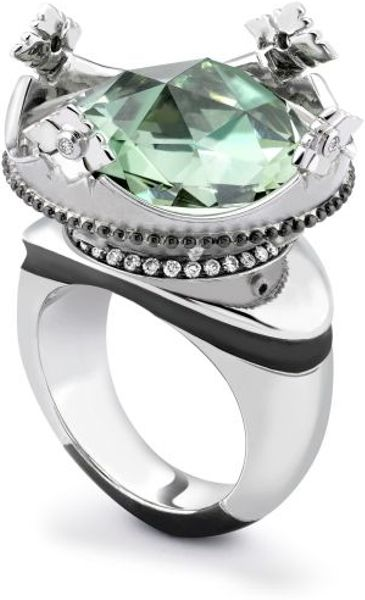 Theo Fennell Green Amethyst, Diamond & Ruby Coronet Ring in Green - Lyst