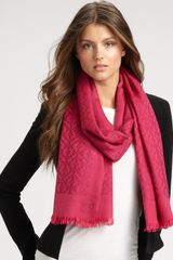 Tory Burch Wool AllOver Logo Scarf in Pink - Lyst