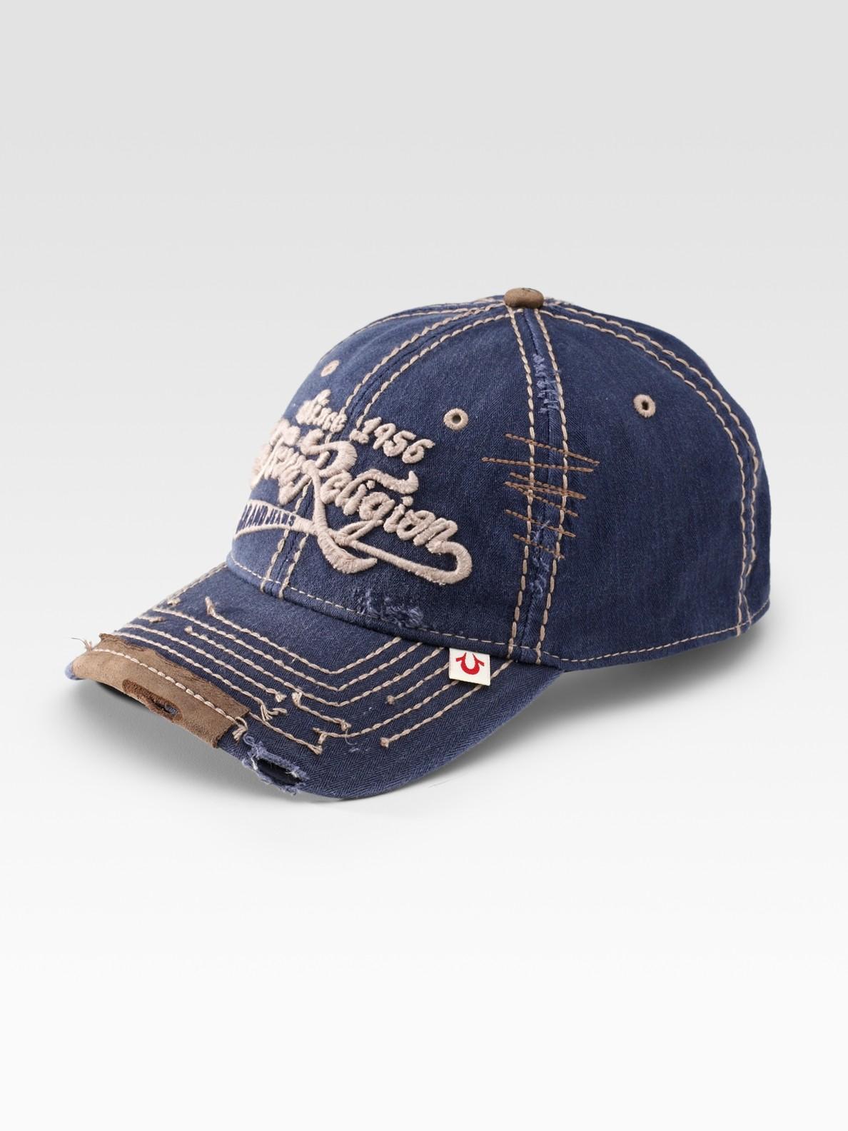 293329f4 True Religion Script Logo Baseball Cap in Blue for Men - Lyst