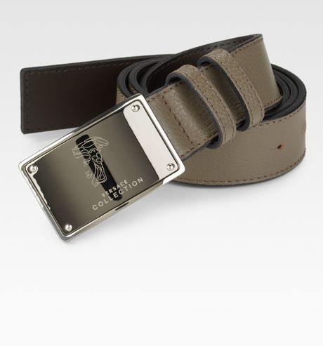 Versace Signature Leather Belt in Green for Men (tan) - Lyst