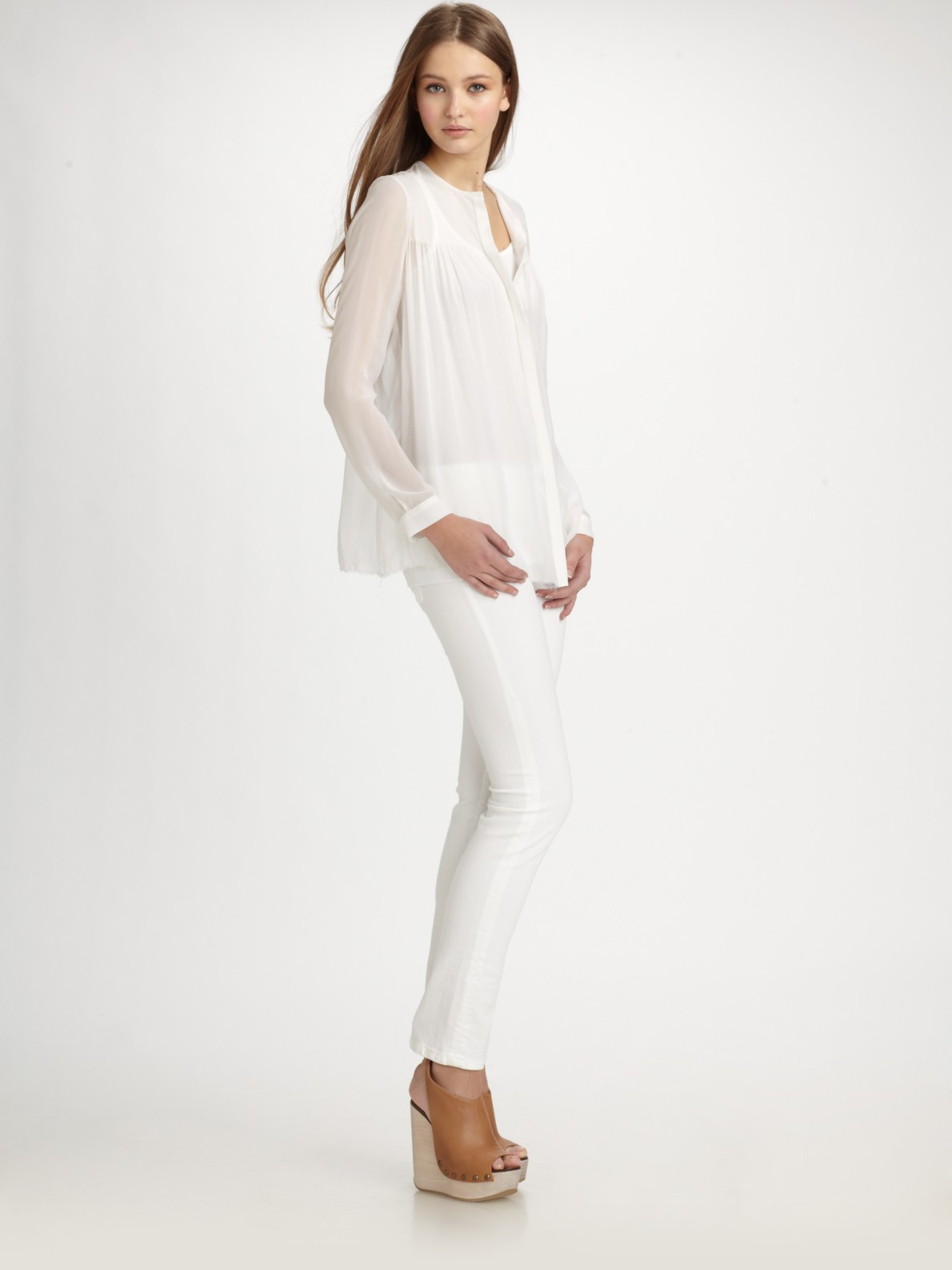 Vince Semi Sheer Silk Button Down Shirt In White Lyst