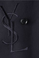 Yves Saint Laurent Doublebreasted Woven Cotton Blazer in Blue for Men - Lyst