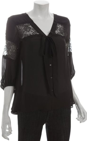 Dolce Vita Black Silk Tie Detail Clio Lace Blouse in Black - Lyst