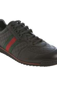 Gucci Black Ssima Leather Web Striped Sneakers - Lyst