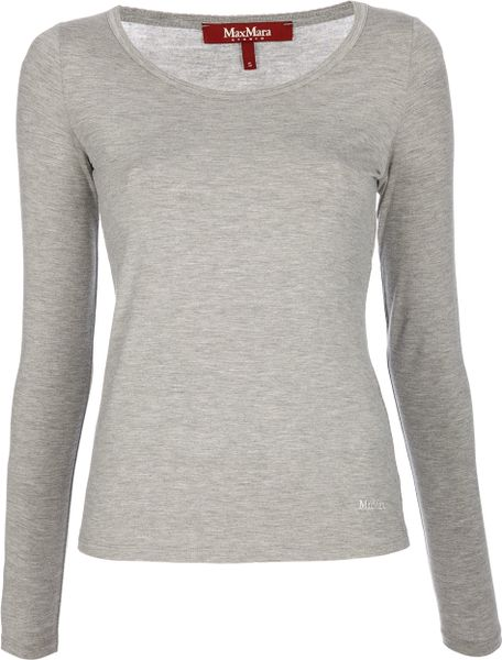 Max Mara Studio Aral Top in Gray (grey) - Lyst