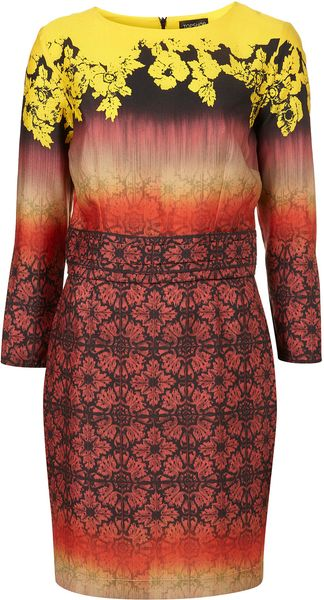 Topshop Wallpaper Ombre Hourglass Dress - Lyst