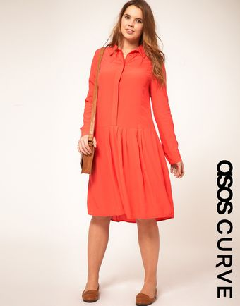 Long Asos Curve Shirt Dress With Dropped Waist - Lyst