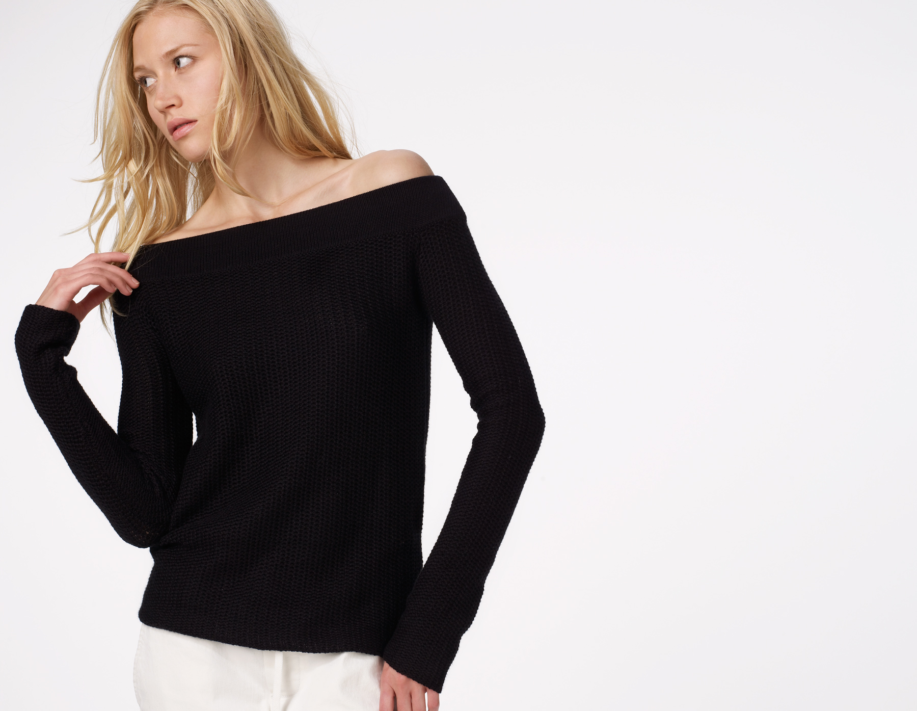 d28865d7a1 Lyst - James Perse Two Tone Off Shoulder Sweater in Black