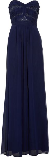 Laundry By Shelli Segal Embellished Silk-chiffon Gown - Lyst