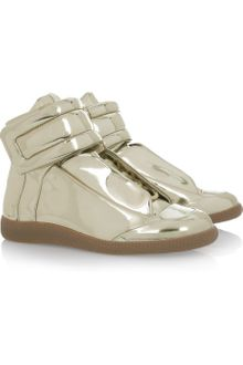 Maison Martin Margiela Metallic High-top Leather Sneakers - Lyst