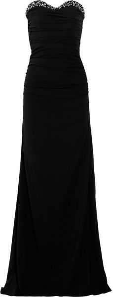 Badgley Mischka Embellished Ruched Crepe Gown - Lyst