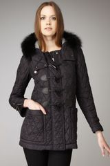 Burberry Brit Fur-hood Quilted Toggle Coat, Black - Lyst