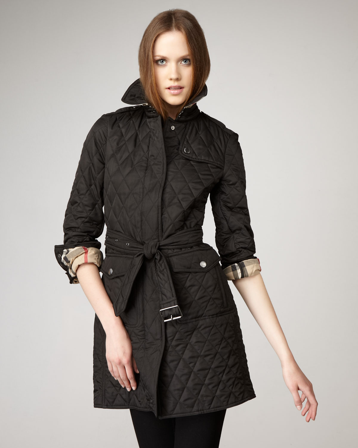 Burberry brit Long Quilted Jacket in Black | Lyst