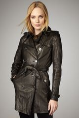 Burberry Brit Washed Leather Trenchcoat - Lyst