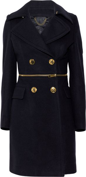Burberry Prorsum TwoinOne Virgin WoolBlend Coat in Blue - Lyst