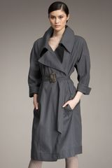 Donna Karan New York Long Trench with Belt - Lyst