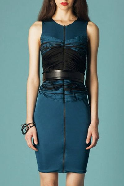 Doo. Ri Sleeveless Dress W/ Bias Embroidered Bustier in Blue