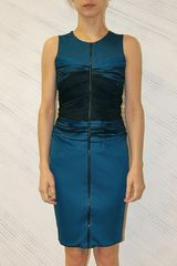 Doo. Ri Sleeveless Dress W/ Bias Embroidered Bustier in Blue - Lyst