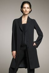 Jil Sander Stretch-wool Silk-plisse Coat - Lyst