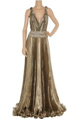Marchesa Embellished Metallic Organza Gown