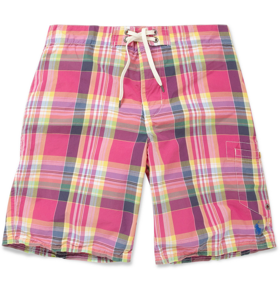 20adfe0f5c ... new zealand australia lyst polo ralph lauren plaid swim shorts in pink  for men 63050 4a83a