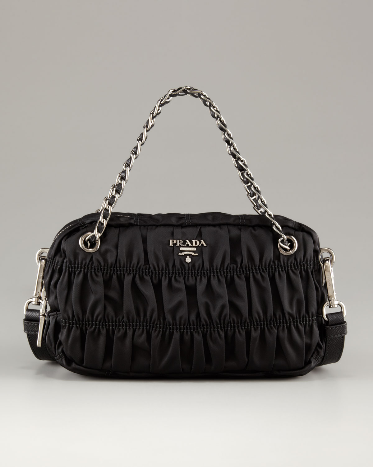 green prada handbag - Prada Extra Small Zip Top Ruched Nylon Shoulder Bag in Black | Lyst